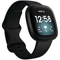 Fitbit Versa 3 Health & Fitness Smartwatch with GPS, 24/7 Heart Rate, Alexa Built-in, 6+ Days Battery (S & L Bands Included) (Black)
