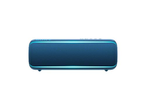 Sony SRS-XB22 Portable Bluetooth Speaker: Compact Wireless Party Speaker with Flashing Line Light - Waterproof and Shockproof Loud Audio for Phone Calls Bluetooth Speakers - Blue - SRS-XB22/L