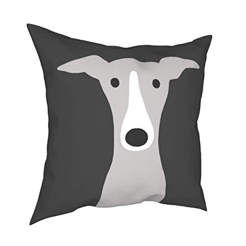 Reebos Fundas de almohada, lindos galgos, galgos italianos o Whippet Dog Home Fundas de cojín cuadradas para sofá, sala de estar, cama de 45,7 x 45,7 cm