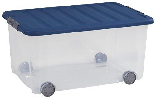 CURVER Dessous de Lit Scotti 35L - Boîte de Rangement à Roulettes - Coffre Transparent à Glisser sous le Lit - Idéal pour Ranger des Draps, Serviettes, Vêtements - Dimensions : 79 x 39 x 16 cm - Bleu