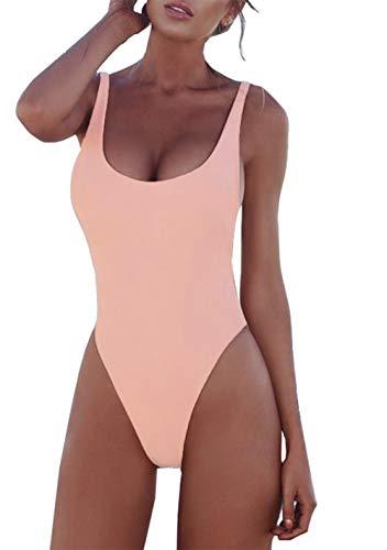 PRETTYGARDEN Women's One Piece Tummy Control U Neck Backless Swimsuits Bathing Suit Swimwear Beachwear Pink