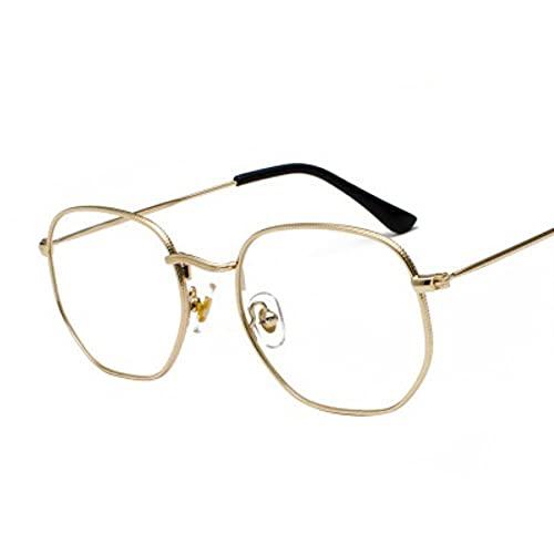 DTMEFJ Gafas de sol cuadradas para hombre, gafas de sol hexagonales para hombre, gafas de pesca con montura metálica para mujer, gafas grises doradas