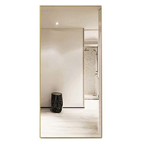 Mirror Espejo de Aluminio, Espejo de tocador, Espejo de Piso a Prueba de explosiones, Espejo de Ajuste, Espejo de Cuerpo Entero (Dorado)