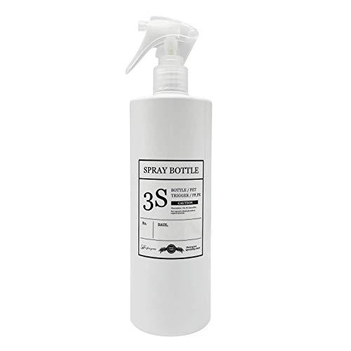 スリーエス 柔らかミストを噴霧する コンパクトノズル スプレーボトル 霧吹き 容器 ホワイト きれいに剥がせるラベル付き 500ML