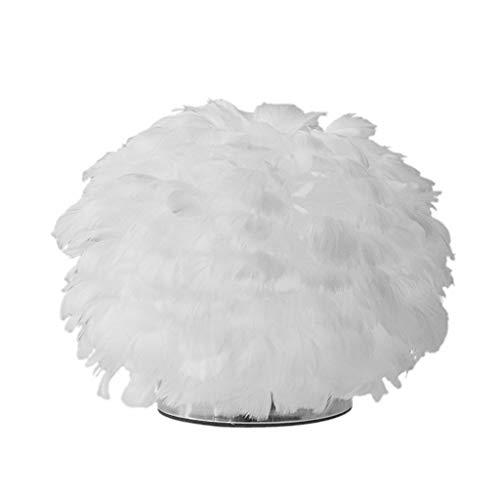 zhichy Lámpara de mesa de pluma, estilo vintage, elegante, para mesita de noche, luz blanca para mesa, decoración creativa del hogar, para dormitorio, sala de estar, lectura, sentado, boda, decoración