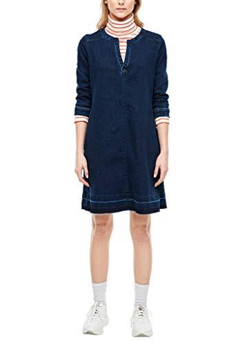 s.Oliver Damen Jeanskleid mit Tunika-Ausschnitt Dark Blue sretched 34