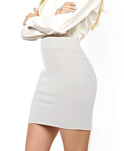MBJ WB2141 Women's Elastic Waist Stretch Bodycon Midi Pencil Skirt Above The Knee Length Classic Skirt L White