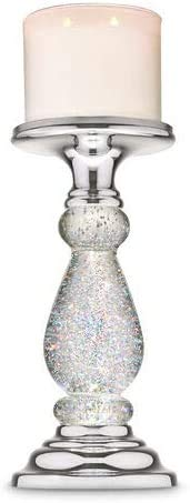 Silver Swirling Glitter Pedestal Bath and Body Works 3-Wick Candle Holder