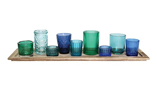 Creative Co-Op Natural Wood Tray with 9 Unique Glass Votive Candle Holders, Blues