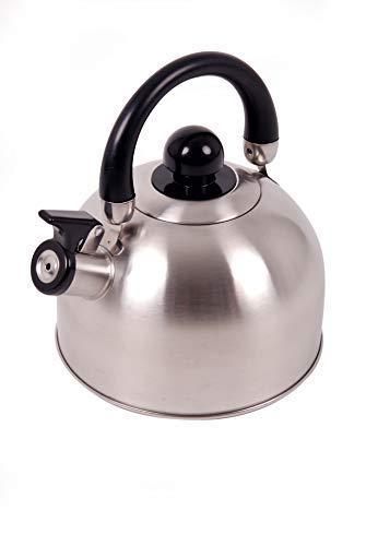 OZtrail Tetera de Silbato de Acero Inoxidable de 2,5 litros. Hervidor de Agua con silbido, Apto para hornillo, fogon OCK-KET25-D Tetera silbante con Tapa