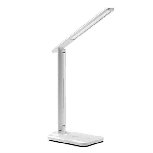 LED Tischlampe mit dimmbarer Schreibtischlampe mit QI Wireless Ladegerät USB Ausgang verstellbares Licht Flexibler moderner Bürotisch