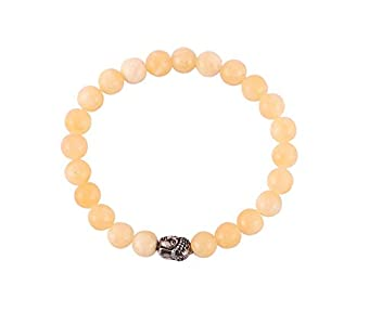 Aatm Natural Healing Gemstone Buddha Charm Bracelet (Calcite)
