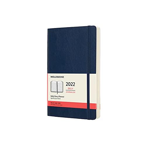 Moleskine DSB2012DC3Y22 - Agenda diaria de 12 meses con tapa blanda, 2022, gran formato 13 x 21, color azul zafiro