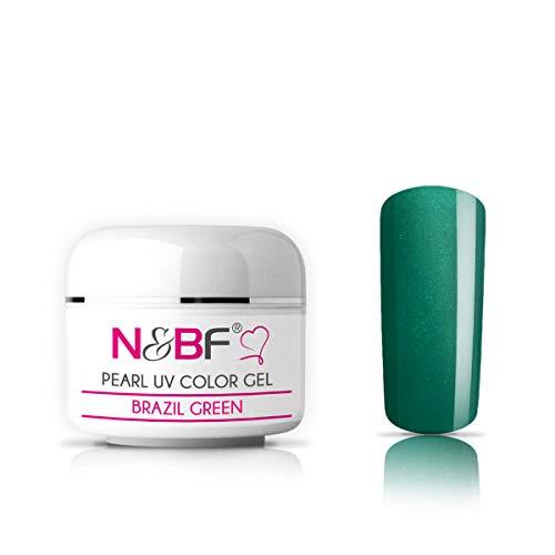 N&BF Pearl Farbgel 5ml | Brazil Green (Grün) | Colour Gel für Gelnägel | Schimmergel für künstliche Fingernägel mittelviskos | Made in EU | Pearl Nagelgel | Colorgel ohne Säure + selbstglättend