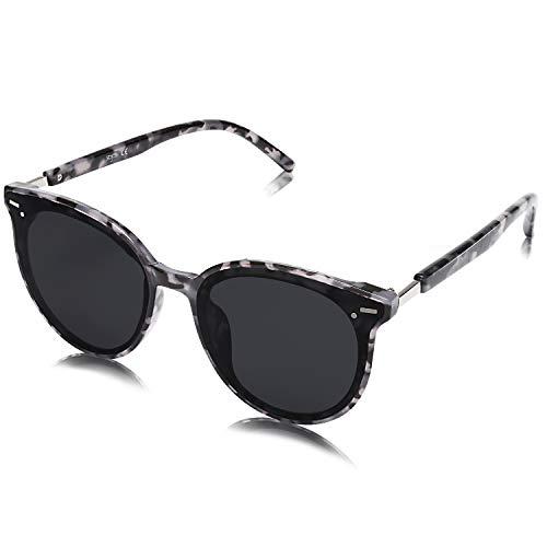 SOJOS Klassisch Retro Runde Sonnenbrille Damen Herren Groß Brille SJ2067 mit Demi Rahmen/Grau Linse