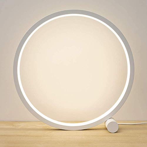 JAKROO LED Ring Table Lamp, Nightstand Lamp-Dimmable-Touch Control for Reading-Warm White Light, for Bedroom, Living Room, Office, Kids Room, Girls Room, Dorm