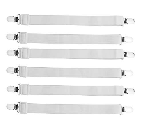 JIHUOO 12 Stück Verstellbare Elastische Betttuchspanner Bettlakenspanner Matratzenspanner Lakenspanner mit Metallclips