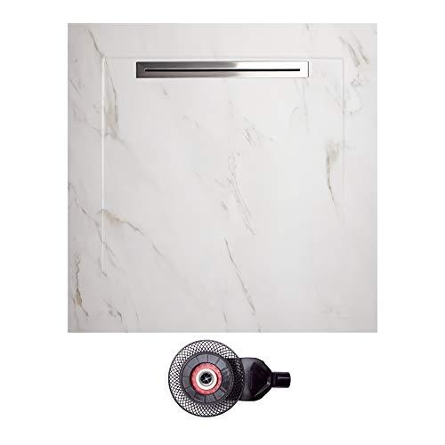 NEBELHORN Duschwanne Komplettset 90x90 - rutschfeste Naturstein Struktur - Bodengleich - einschl. Ablaufgarnitur - 100% keramisch - Farbvariante: (Carrara weiß)