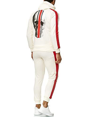 Code47 Herren Jogginganzug Sportanzug Trainingsanzug Sweatshirt Hose Jogging Anzug Modell 3438 Weiss XXL