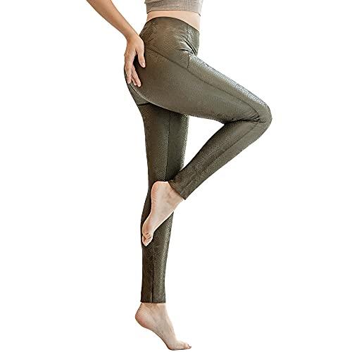 Powder Queen Leggins Termicos Mujer Cuero Deportivos Fitness Push Up Leggins Mujer Cintura Alta Skinny Sexis con Estampado de Serpiente para Mujer EláSticos Pantalon Cuero Mujer Invierno