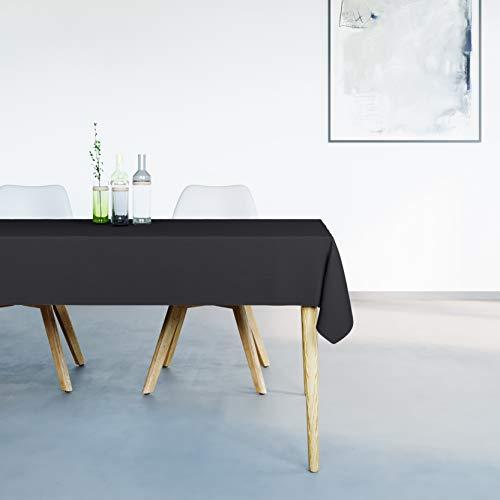 Mistral Home Mantel Antimanchas Rectangular Negro – 150 x 250 cm – Mantel de Mesa Combinación de Algodón y Poliéster – Lavable en Lavadora – Protección Moderna para su Mesa