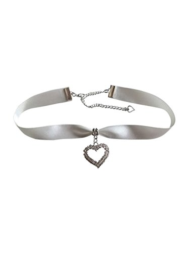 dunns-jewels Ivory Satin 16mm Wide Choker with a Rhine-Stone Heart