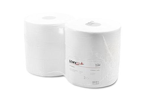Semy Top ST-88023 Jumbo-Toilettenpapier, 2-lagig, Durchmesser 28 cm, Hochweiß (6-er Pack)