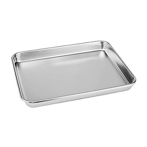 Rykey Kompaktes Toaster-Ofenblech aus Edelstahl, professionell, robust und gesund, tiefer Rand, verwindungsbeständig, antihaftbeschichtet, Backform, 26,7 x 20,6 x 2,5 cm, silberfarben