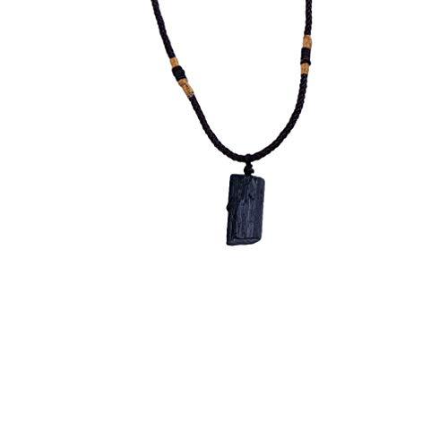 Vektenxi Premium Qualität Schwarz Turmalin Anhänger Halskette Männer Frauen Energie Kristall Halskette Geschenk