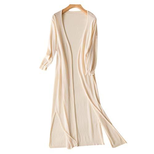 Elonglin Femmes Long Cardigans Tricoté Veste de Plage Cache-Maillots Sarongs Chic Élégant Gilet Beige Poitrine 38 inch(Asie L)