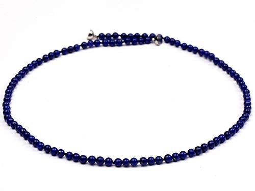 JYX - Collar de piedras preciosas naturales de lapislázuli de 4 m, cuentas redondas, color azul, cadena de 45,72 cm, joyería hecha a mano
