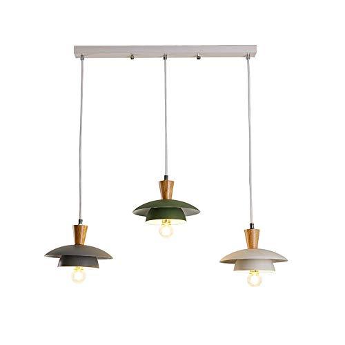 Lampara colgante 3 luces Lampara colgante de madera y metal Lampara colgante ajustable en altura E27 Lampara de mesa de comedor industrial Lampara colgante para mesa de comedor, comedor, sala de estar