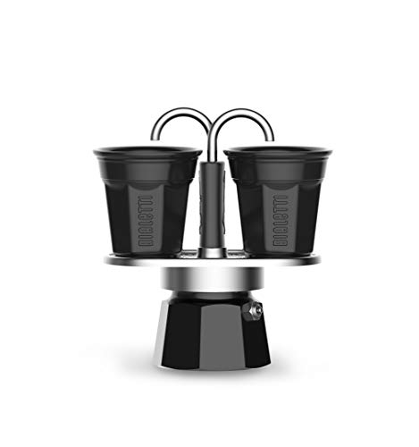 Bialetti Mini Express Color Kaffeekanne Set 2 Tassen + 2 Becher, Aluminium Schwarz