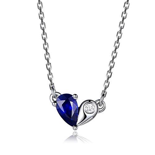 Aartoil Collar para mujer con colgante de corazón de oro blanco de 18 quilates con forma de lágrima de zafiro y diamante para mujer, plata y azul