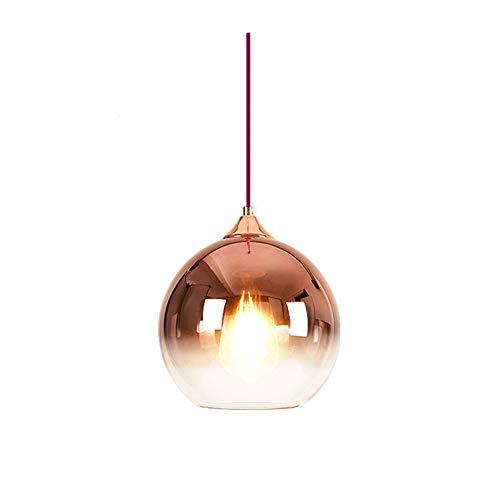 MZStech Lámpara colgante esférica de color degradado, lámpara de cristal moderna basada en bombillas E27 (Oro rosa, 20CM)