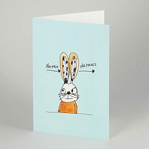 da rein - da raus - witzige Cartoonkarte von karindrawings: Hase mit langen Ohren, Klappkarte mit weißem, gefütterten Umschlag B6