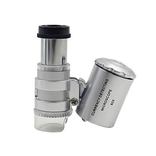 LYXLQ Mini-Mikroskop, LED-bewegliche 60 X-Handheld-Mikroskop, Metallic-Stretchable Brennweite LED Violet, Geeignet für Medizin/Münzen/Briefmarken/Bildung/Büro
