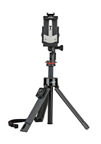 JOBY GripTight PRO Telepod, Dreibeinstativ/Einbeinstativ/Selfie-Stick mit Kugelkopf, Smartphone und Action Kamera Halter, Bluetooth Fernbedienung