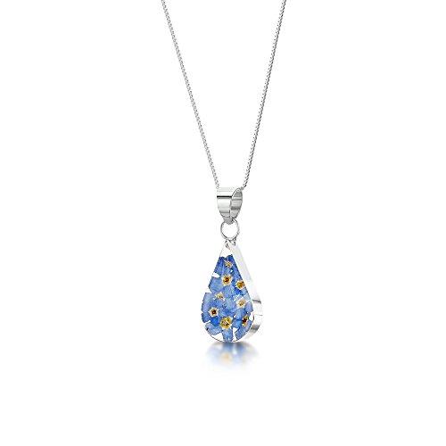Silberne Damen-Halskette mit Tränen-Anhänger aus echten Vergissmeinnicht - inklusive 45,7cm Kette und Geschenkbox