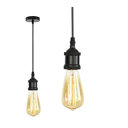 MIFIRE Vintage Mini Luz Lámpara del Techo pendiente E27 Edison Casquillo Portalámparas Lámpara colgante con cable ajustable 1.5 m para retro Accesorios de La Lámpara DIY (Negro mate)