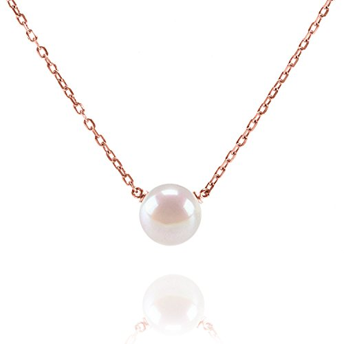 PAVOI Handpicked AAA Freshwater Cultured Single Pearl Necklace Pendant | Rose Gold Necklaces for Women