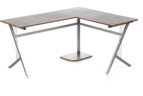 hjh OFFICE 673460 Eckschreibtisch POLLUX walnuss silber, ideal für Home Office und Büro, robuste langlebige Arbeitsfläche, ein breiter Computertisch, Schreibtisch, Büroschreibtisch, Winkelschreibtisch