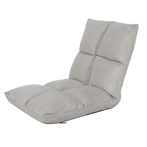 Lazy Sofá, 5 niveles ajustable, tumbona, tumbona, silla de piso para interiores, respaldo alto, cojín suave, 100 x 47 x 10 cm (gris)