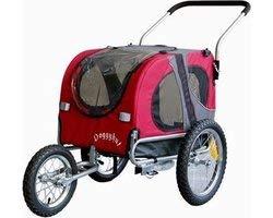Fietskar Hond medium rood+jogger functie