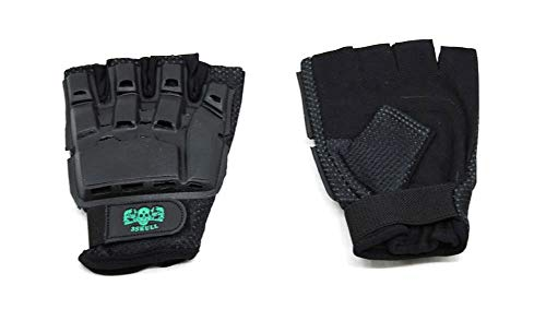 Cutlass Paintball 3Skull Half Finger Padded Protective Gloves - Black (X-Large)