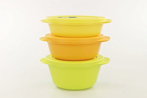 Tupperware, CrystalWave Micro, 31052, Contenitori da microonde, 800 ml lime + 600 ml arancio + 400 ml giallo