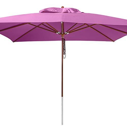anndora® Sonnenschirm 4 x 4 m quadratisch Holz Gestänge - Lila Purple