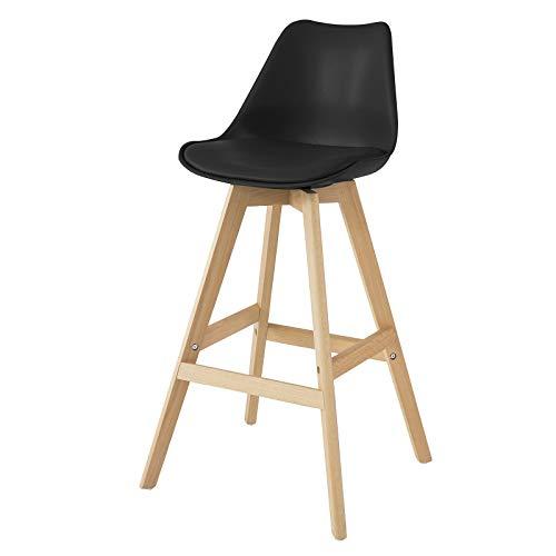 SoBuy FST69-SCH Barhocker mit Fußstütze Barstuhl Tresenhocker Barstuhl mit Rücklehne Schwarz Beine aus Buche Sitzhöhe: 74 cm