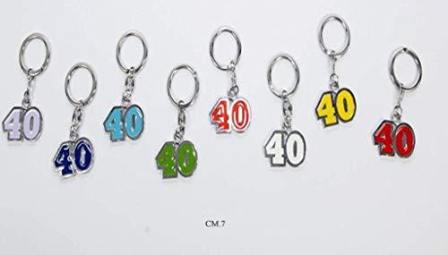 Subito disponibile STOCK 16 PEZZI Numero 40 Portachiavi colorato in metallo BOMBONIERA 40 A