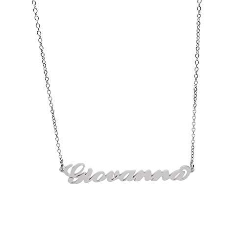 Collana Donna con Nome Giovanna in Acciaio in corsivo Elegante Girocollo Regolabile Anallergico Color Argento Confezione Regalo Inclusa